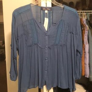 Button Up Blouse-Blue Rain